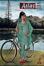 Vintage Atlas Cycles Indian Bicycle Cycling Advertisment Poster Art Print A3 A4