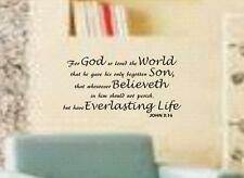 """John 3:16 BIBLE VERSE Quote """"For God so loved the World"""" Wall Art vinyl Decal"""