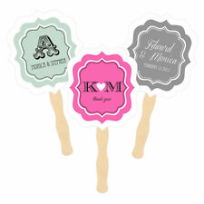 Personalized Paddle Hand Fans Monogram Whimsy Text Wedding Bridal Shower Favors