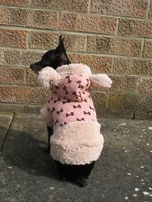 Small dog clothes warm Chihuahua Puppy coat , Yorkie hoodie, coat Bow pink XS