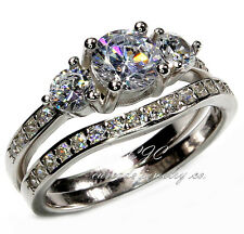 Beautiful Engagement Wedding Ring SET SOLID Sterling Silver & Cubic Zirconia CZ