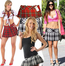 LADIES SCOTTISH UK SCHOOL GIRLS RED CHECK TARTAN MINI SHORT SCOTTISH KILT SKIRT