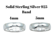 Sterling Silver Ring 925 Solid Classic Wedding Plain Band 4mm 5mm New Jewelry