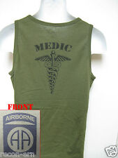 82ND AIRBORNE od green TANK TOP T-SHIRT/ MEDIC/ combat/ / MILITARY/  NEW