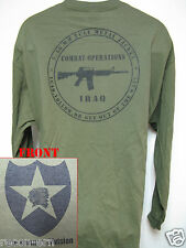 2nd I.D. LONG SLEEVE T-SHIRT/ IRAQ COMBAT OPS / MILITARY/ ARMY / NEW