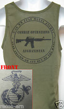 USMC TANK TOP/ AFGHANISTAN COMBAT OPS/  VETERAN/ OD GREEN/ MILITARY/  NEW