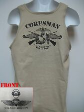 USMC RECON TANK TOP/ FMF NAVY CORPSMAN/ SARC/ RECON CORPSMAN/ MILITARY T- SHIRT