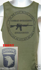 101ST AIRBORNE/ TANK TOP/ OD GREEN/ T-SHIRT/ MILITARY/ AFGHANISTAN COMBAT OPS