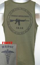 ARMY MEDIC TANK TOP/ OD GREEN/ T-SHIRT/ MILITARY/ IRAQ COMBAT OPS
