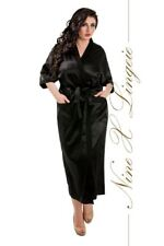 Nine X Womens Satin Long Robe S-7XL Plus Size Dressing Gown Lingerie Red