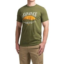 Simms Fly Fishing Legacy Streamer S/S T Shirt - Olive Green - Choose Size - NEW!