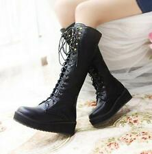 Hot Gladiator Womens Ladies Knee High Boots Rock Lace Up riding wedge Shoes size