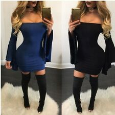 Women Autumn Sexy Off Shoulder Fall Club Backless Navy Blue Black Mini Dress