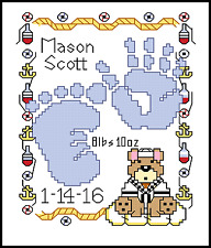BABY BOY BIRTH CHART Southwest Design for Counted Cross Stitch CHART or KIT