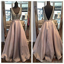 New Formal Evening Dress Party Cocktail Beaded Satin Pageant Celebrity Prom Gown