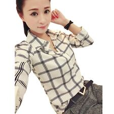Women Summer Casual Plaid Long Sleeve Blouse Fitted Shirt Top
