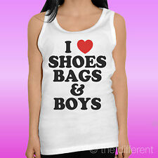 "TANK TOP WOMEN'S T-SHIRT "" I LOVE SHOES BAGS AND BOYS "" TANK TOP GIFT IDEA"