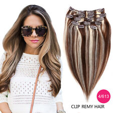 7PCS Straight 100% Real Remy Human Hair Full Head Clip in Human Hair Extensions