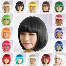 New Women's Lady Sexy Full Bangs Wig Short Wig Straight BOB Hair Cosplay Party