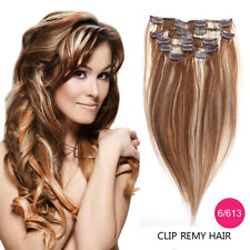 "14""-22"" 7PCS Clip in Remy Real Human Hair Extensions Straight More Colors Beauty"