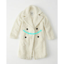 NWT ABERCROMBIE & FITCH WOMENS SHERPA CAR COAT JACKET CREAM SIZE S,M A&F