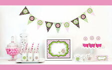 Mod Pink Owl Girl Baby Shower Party Table Decor Kit Place Cards Signs & More