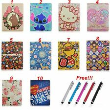 Cute Cartoon Flip Folio Stand PU Leather Tablet Cover Case For Apple iPad Series