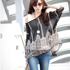 Women Fashionable Casual Chiffon Blouses Shirts With Vintage Print
