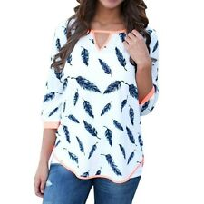 Women V Neck 3/4 Sleeve Cotton Blend Casual Leaves Print Top Blouse Shirt