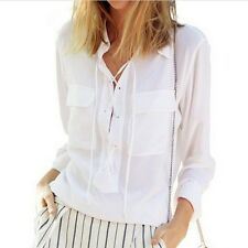 Women Turn Down Collar Front Lace Up Long Sleeve Blouse Chiffon Top