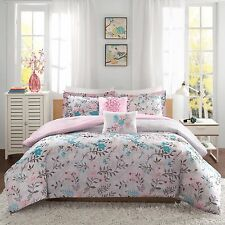 BEAUTIFUL SUMMER FLORAL PINK TEAL 5-PC COMFORTER SET FULL/QUEEN TWIN