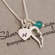 Sterling Silver Personalised Angel Wing Heart Necklace Birthstone and Initial