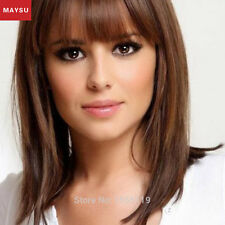 MAYSU Long Straight Human Hair Wigs For Women Natural Hair Wigs With Bangs