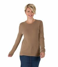 WoolOvers Womens New Cashmere Crew Neck Casual Top Long Sleeve Sweater Jumper