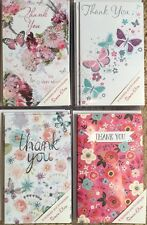 PACK OF 8 THANK YOU NOTELETS BLANK GREETINGS CARDS BY SIMON ELVIN,BUTTERFLIES