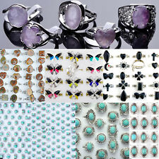 Wholesale Jewelry Lots 10pcs Fashion Silver Plated Crystal Rhinestone Rings Gift