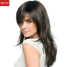 Long Multi-layered Human Hair Wigs For Women Side Parting Long Hair Wig