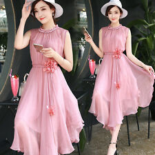new summer Korean fashion temperament elegant shitsuke irregular chiffon dress