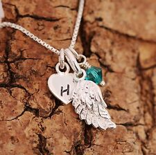 Sterling Silver Personalised Angel Wing Heart Charms Necklace+Birthstone+Initial