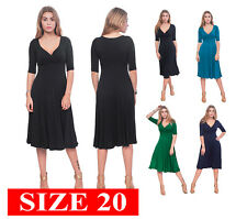WOMENS CLASSIC FAUX WRAP V NECK 3/4 SLEEVE MIDI FLARED DRESSES PLUS SIZE 20 XXL
