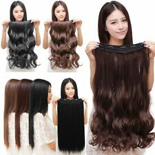 Fashion 3/4 Full head Clip In Hair Extensions Straight Curly With 5 Clips Long O