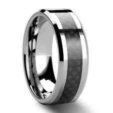 Black Carbon Fiber Tungsten Carbide Ring Mens Wedding Band size US 6 - 13