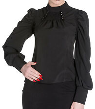 SPIN DOCTOR BLACK STREAMPUNK GOTHIC VICTORIAN HIGH NECK SHIRT TOP BLOUSE 8-22