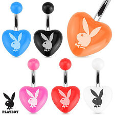 New Playboy Bunny Heart 316L Surgical Steel Navel Ring. Playboy Body Jewelry NWT