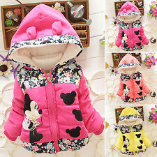 Baby Girls Kids Cartoon Winter Warm Hooded Hoodies Coat Jackets Outfits Clothes
