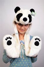 Plush Faux Fur Animal Critter Panda Hat Cap Winter Soft Warm Cap Cartoon Zoo