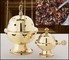 BRASS INCENSE CENSOR SANCTUARY BOAT and SPOON Apostolic Gifts of Magi Incense
