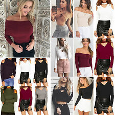 Womens Ladies Cold Off Shoulder Loose Casual Long Sleeve Crop Tops Blouse Shirt