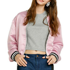 Womens Pink Casual Long Sleeve Bomber Jacket Lovely Fashion Cropped Coat Outwear
