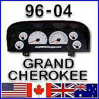 1996-2004 Jeep GRAND CHEROKEE WJ-ZJ White Face Gauges for instrument cluster